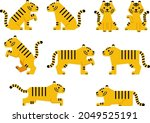 illustration set of tigers with ... | Shutterstock .eps vector #2049525191