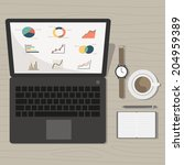 notebook with marketing graph... | Shutterstock .eps vector #204959389