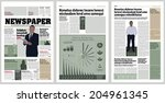 Graphical design newspaper template with infographic | Shutterstock vector #204961345