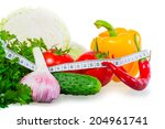 centimeter and healthy food on... | Shutterstock . vector #204961741