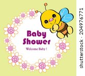 baby shower invitation template ... | Shutterstock .eps vector #204976771