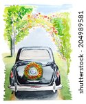 retro car for wedding | Shutterstock . vector #204989581