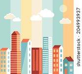 vector city illustration in... | Shutterstock .eps vector #204993937
