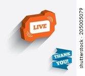 live sign icon. on air stream... | Shutterstock .eps vector #205005079