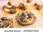 fried morel mushrooms on a toast