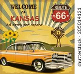 welcome to kansas retro poster. | Shutterstock .eps vector #205014121