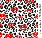 leopard pattern with red lips. | Shutterstock .eps vector #205016287