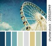 a ferris wheel  vintage style   ... | Shutterstock . vector #205020949