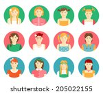 Vector set of twelve smiling girls and young women avatars in flat style with diverse faces  clothing  hairstyles  and hair colors on round web buttons for identification on the internet