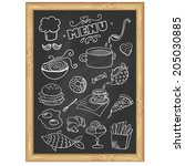 menu board. set of food icons ...   Shutterstock .eps vector #205030885