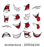 set of mouths cartoon  | Shutterstock .eps vector #205036144