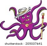 purple octopus with zebra hat...