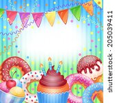 template for happy birthday... | Shutterstock .eps vector #205039411