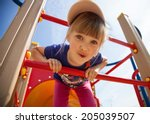 Active little girl on playground