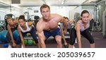 muscular instructor leading... | Shutterstock . vector #205039657