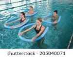 fitness class doing aqua... | Shutterstock . vector #205040071
