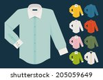 vector set of various dress... | Shutterstock .eps vector #205059649