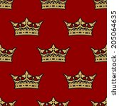 golden crown seamless... | Shutterstock .eps vector #205064635
