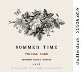 Summer Vector Vintage Card Wit...