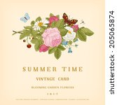 summer vector vintage card with ... | Shutterstock .eps vector #205065874