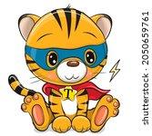 cute cartoon tiger superhero in ...   Shutterstock .eps vector #2050659761
