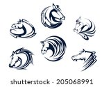 horse mascots and emblems with... | Shutterstock .eps vector #205068991