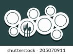 cutlery with plate as abstract... | Shutterstock . vector #205070911