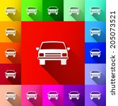 white car with shadow icon on... | Shutterstock .eps vector #205073521