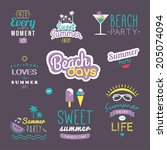 summer retro design elements.... | Shutterstock .eps vector #205074094