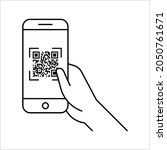 scan qr code with mobile phone. ... | Shutterstock .eps vector #2050761671