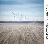 wind farm in mud flat with... | Shutterstock . vector #205077211