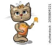 cartoon kitten with sweet tooth ...   Shutterstock .eps vector #2050809221