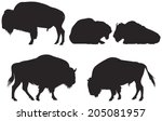 Bison Group Vector Silhouettes...