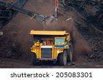 big mining truck unload coal | Shutterstock . vector #205083301