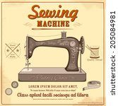 illustration of vintage sewing
