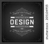 retro chalkboard typographic... | Shutterstock .eps vector #205104955