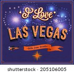 greeting card from las vegas  ... | Shutterstock .eps vector #205106005