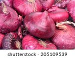 Fresh red onions. - stock photo