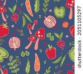 vegetable and fruit seamless... | Shutterstock .eps vector #2051105297