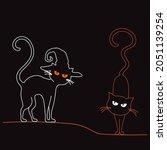 two simple cat in halloween hat ... | Shutterstock .eps vector #2051139254