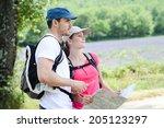 happy young couple trekking... | Shutterstock . vector #205123297