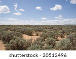 wide open space of desert land with nothing but sagebrush - stock photo