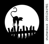 scary halloween arched its back ... | Shutterstock .eps vector #2051261981
