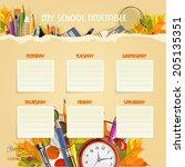 school timetable.  schedule.... | Shutterstock .eps vector #205135351