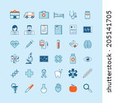 set of flat design icons on... | Shutterstock .eps vector #205141705