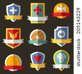 vector coats of arms  shields ... | Shutterstock .eps vector #205143229