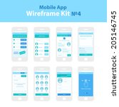Mobile App Wireframe Ui Kit 4. Order plan screen, select contacts screen, write message screen, advertisement screen, credit card payment screen, friendlist screen, update profile screen, tutorial.
