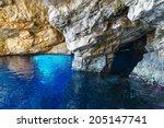 blue caves inside   zakynthos ...   Shutterstock . vector #205147741