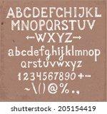 doodle sketch font on brown... | Shutterstock .eps vector #205154419