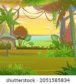 rainforest leaves. morning...   Shutterstock .eps vector #2051585834